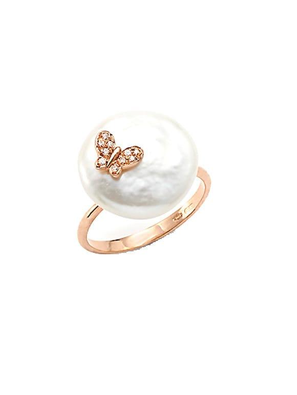 Anello con perla coin e zirconi | Gioielleria Caruso