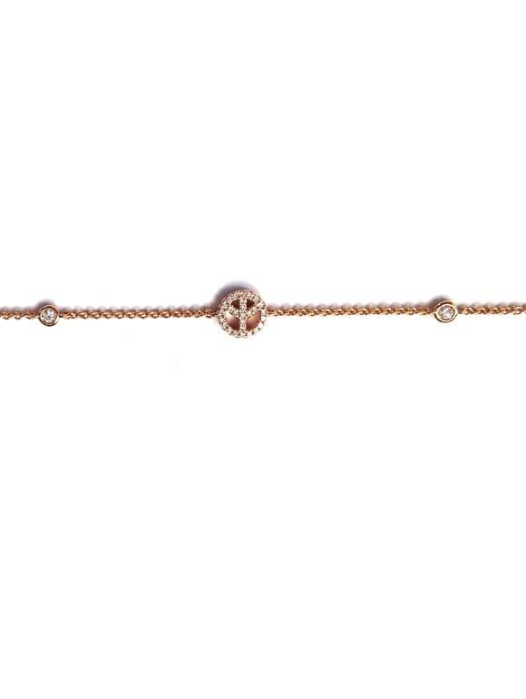 Bracciale con simbolo della pace e diamanti | Gioielleria Caruso