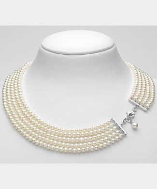 Collana con perle a cinque fili | Gioielleria Caruso
