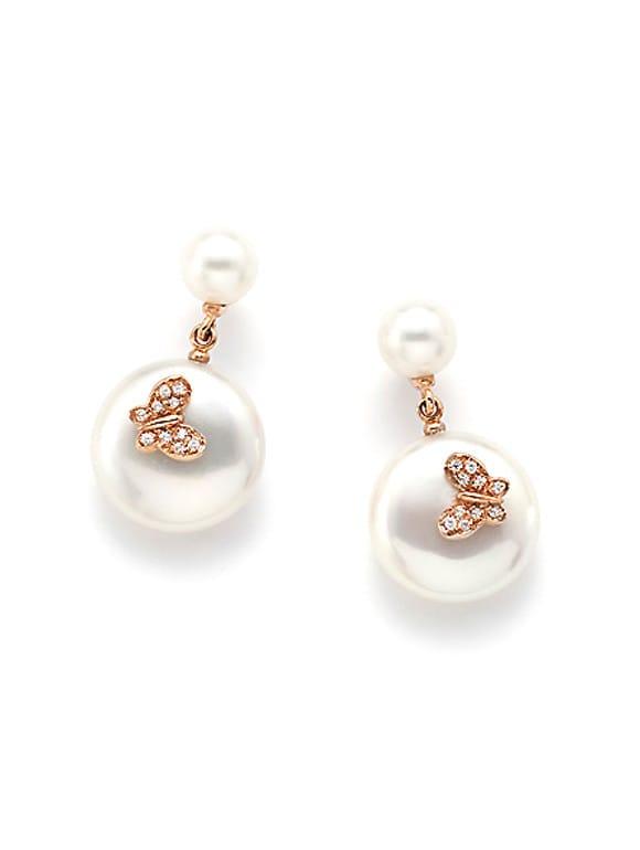 Orecchini con perle coin e zirconi | Gioielleria Caruso