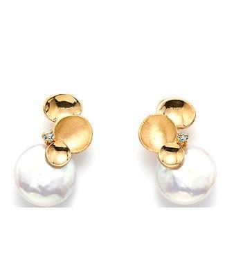 orecchini con perle coin e topazio azzurro | Gioielleria Caruso