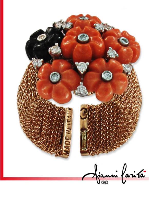 Anello Chain con diamanti onice e corallo | Gioielleria Caruso