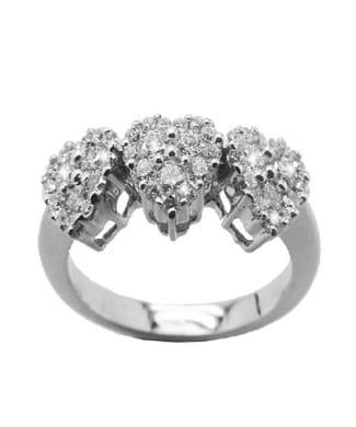 Anello con cuori e diamanti | Gioielli Caruso