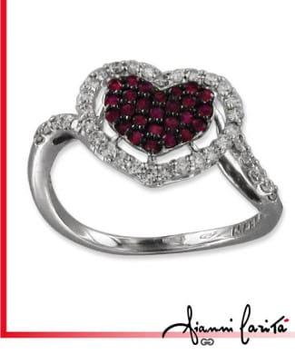 Anello con cuore diamanti e rubini | Gioielleria Caruso Napoli