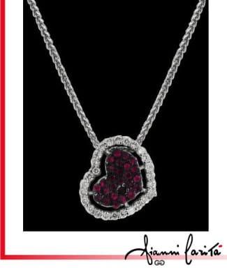 Girocollo con cuore diamanti e rubini | Gioielleria Caruso Napoli