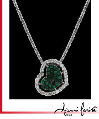Girocollo con cuore diamanti e smeraldi | Gioielleria Caruso Napoli