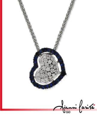 Girocollo con cuore diamanti e zaffiri | Gioielleria Caruso Napoli