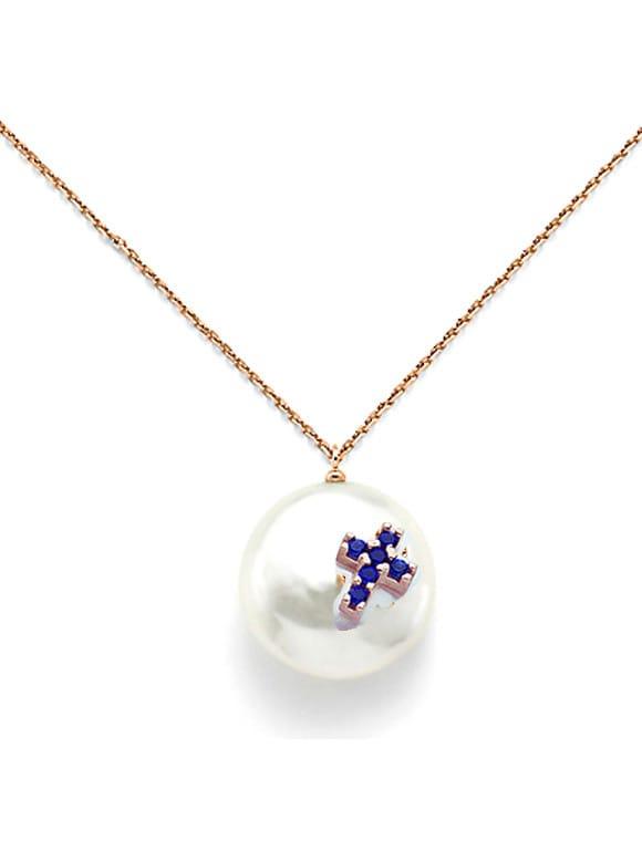 Girocollo con perla coin e zirconi | Gioielleria Caruso