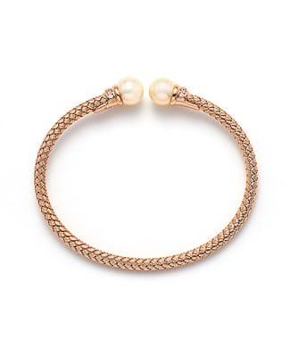 Bracciale perle rigido con zirconi   Gioielleria Caruso Napoli