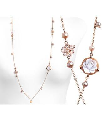 Girocollo con cammeo perle e zirconi rosa | Gioielleria Caruso Napoli