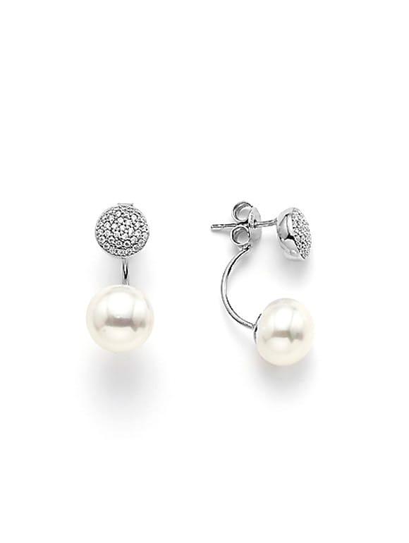 Orecchini bianchi con Perle e zirconi | Gioielleria Caruso Napoli