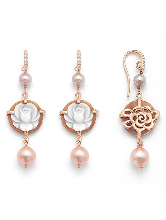 Orecchini con cammeo perle e zirconi | Gioielleria Caruso Napoli