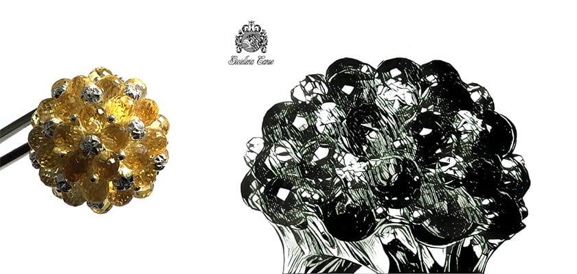 Anello Moonlight con citrino e diamanti | Gioielleria Caruso Napoli