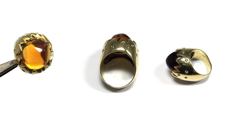 Anello con diamanti e ametista marrone | Gioielleria Caruso Napoli