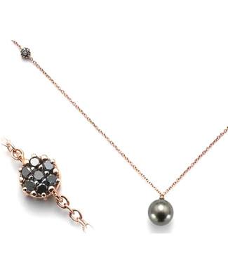 Collana con perle e diamanti neri | Gioielleria Caruso Napoli