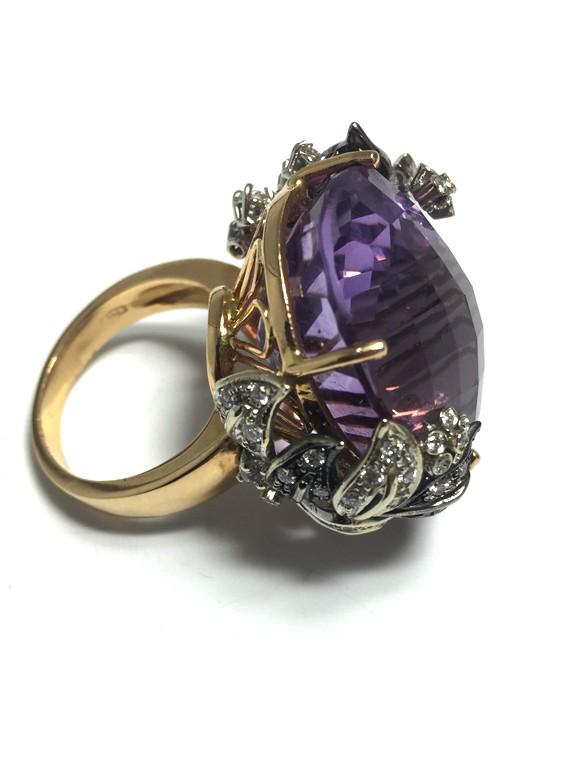 Anello cestino con ametista e diamanti   Gioielleria Caruso Napoli