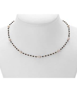 Collana con perle e spinello nero | Gioielleria Caruso Napoli