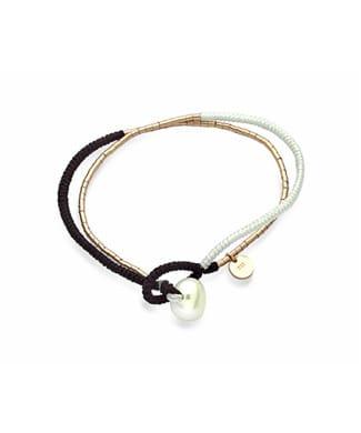 Bracciale Mikiko con perla in sagola nera | Gioielleria Caruso Napoli