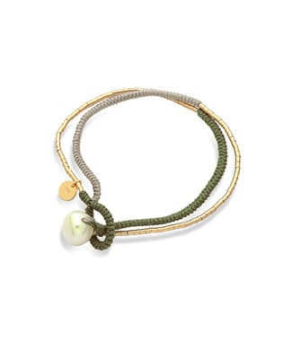 Bracciale Mikiko con perla in sagola verde | Gioielleria Caruso Napoli
