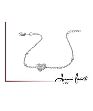 Bracciale cuore in oro bianco con diamanti | Gioielleria Caruso Napoli