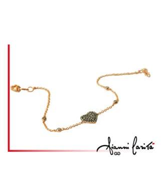 Bracciale cuore in oro giallo con diamanti brown | Gioielleria Caruso Napoli