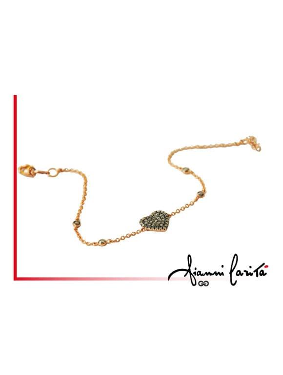 Bracciale cuore in oro giallo con diamanti brown   Gioielleria Caruso Napoli