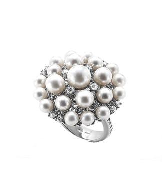 Anello Euforia in argento con perle e zirconi | Gioielleria Caruso Napoli
