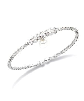 Bracciale perle rigido con zirconi | Gioielleria Caruso Napoli