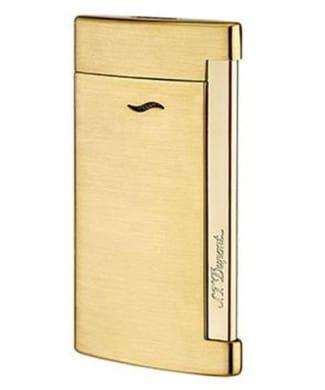 Briquet Slim 7 Full golden brushed lighter | Gioielleria Caruso Napoli