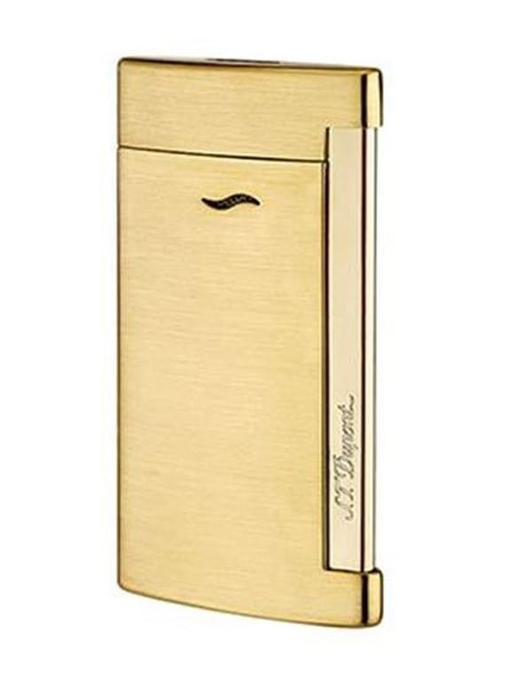 Briquet Slim 7 Full golden brushed lighter | Gioielleria Caruso Napoli