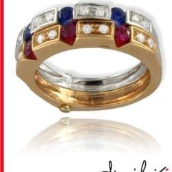 Anello con diamanti rubini e zaffiri | Gioielleria Caruso