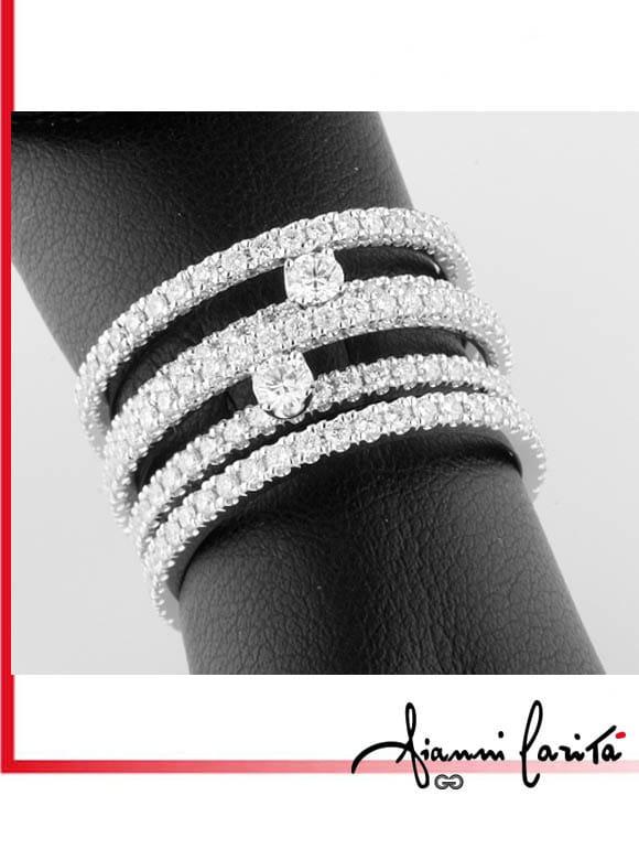 Anello fili con diamanti | Gioielleria Caruso