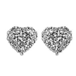 Orecchini con cuore e diamanti | Gioielli Caruso