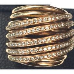 Anello fani in oro rosa con diamanti | Gioielli Caruso