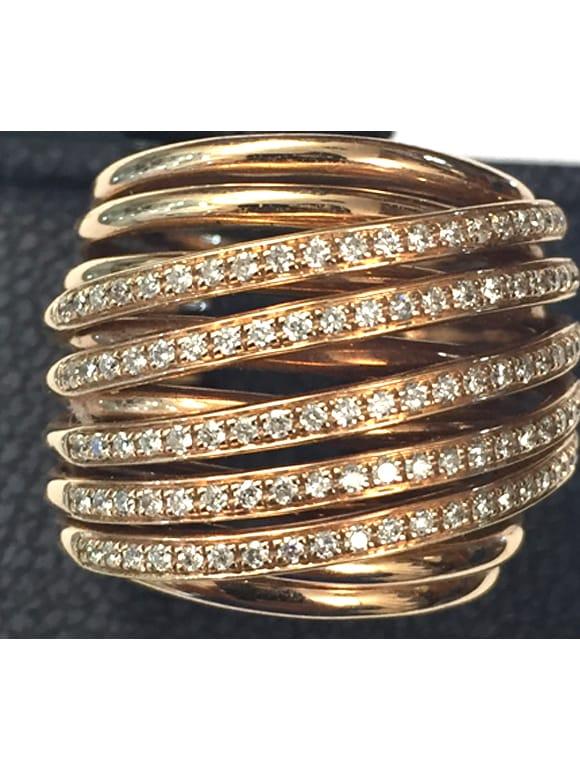 Anello fani in oro rosa con diamanti   Gioielli Caruso