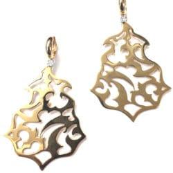 Orecchini Fani in oro traforati con diamanti |Gioielli Caruso