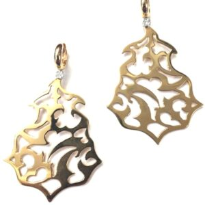 Orecchini Fani in oro traforati con diamanti  Gioielli Caruso