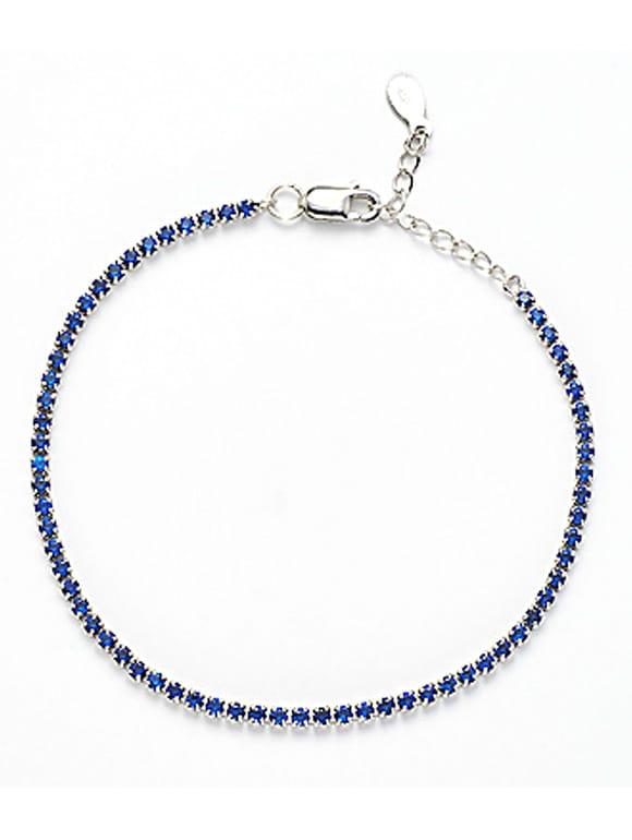 nuovo prodotto 8dc43 eb7c0 Bracciale Tennis con zirconi blu
