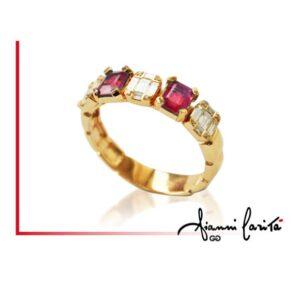 Anello in oro bianco con diamanti e rubini | Gioielleria Caruso Napoli