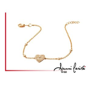 Bracciale cuore in oro giallo con diamanti | Gioielleria Caruso Napoli