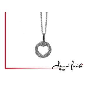 Pendente cuore in oro bianco con diamanti | Gioielleria Caruso Napoli