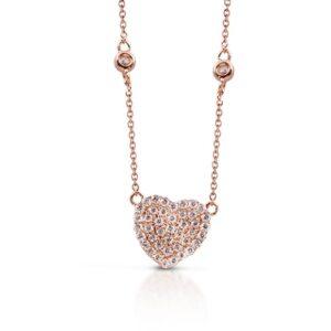 Pendente cuore in oro rosa con diamanti | Gioielleria Caruso Napoli