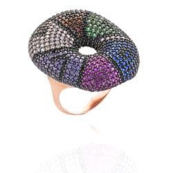 Anello Pavé con zirconi multicolor | Gioielli Caruso