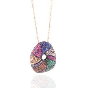 Collana pendente argento 925 con zirconi multicolor | Gioielleria Caruso Napoli