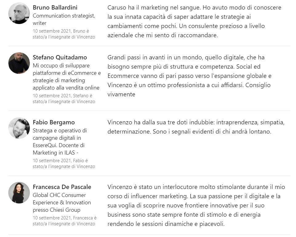 Referenze Professori LinkedIn 2
