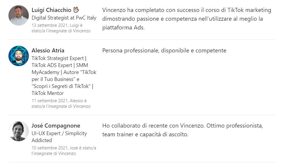 Referenze Professori LinkedIn